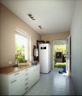 Luft-Wasser-Wärmepumpe im Wohnhaus (© Buderus)